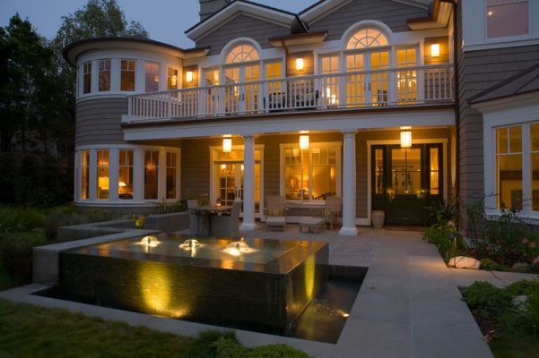 Cape Cod Style House Fountain and Courtyard